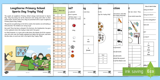 ks1 the mystery of the sports day trophy maths game subtraction problem. Black Bedroom Furniture Sets. Home Design Ideas