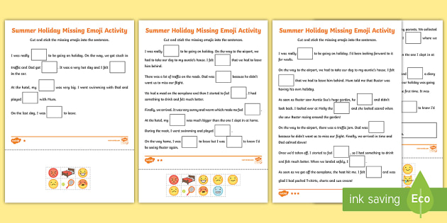 ks1 summer holiday missing emojis differentiated worksheet. Black Bedroom Furniture Sets. Home Design Ideas