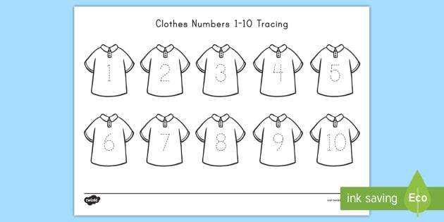 Clothes Numbers 1-10 Tracing Worksheet / Worksheet