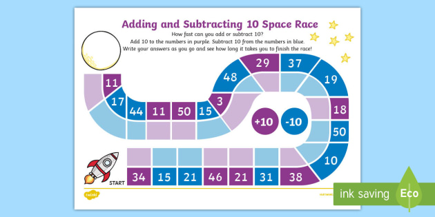 Adding and Subtracting 10 Race Worksheet / Activity Sheet - adding, subtracting, 10, race, activity, sheet, worksheet