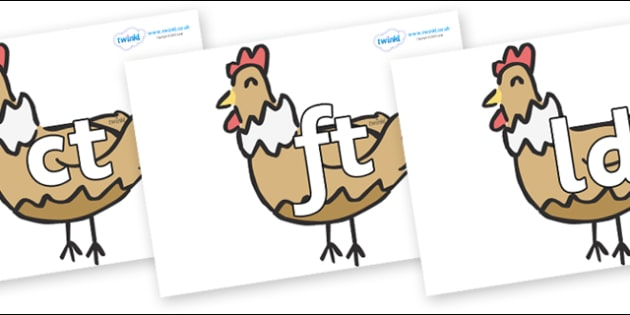 Final Letter Blends on French Hens - Final Letters, final letter, letter blend, letter blends, consonant, consonants, digraph, trigraph, literacy, alphabet, letters, foundation stage literacy
