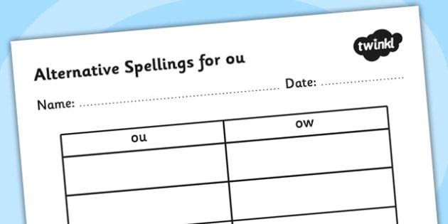 Alternative Spellings for ou Table Worksheet - alternative spellings for ou, table worksheet pack, table worksheet, ou worksheet