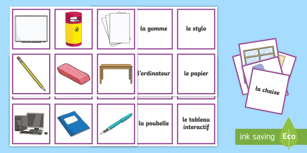 Classroom Objects Snap Game French - French Games, matching cards, french objects, french classroom vocabulary, French snap, snap games,S
