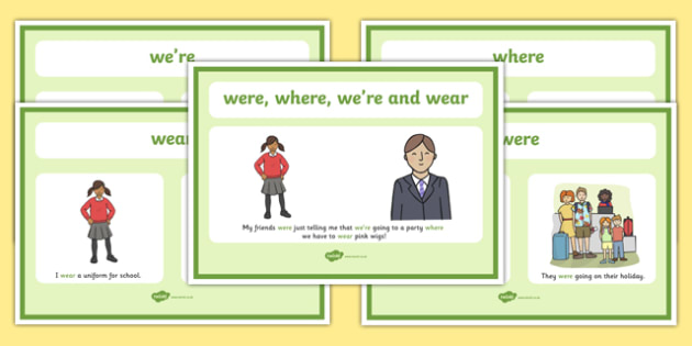 Were We're Where And Wear Display Posters - were, we're, where,wear, display, poster, sign, difference between, different, spelling, sound, same, KS2, literacy