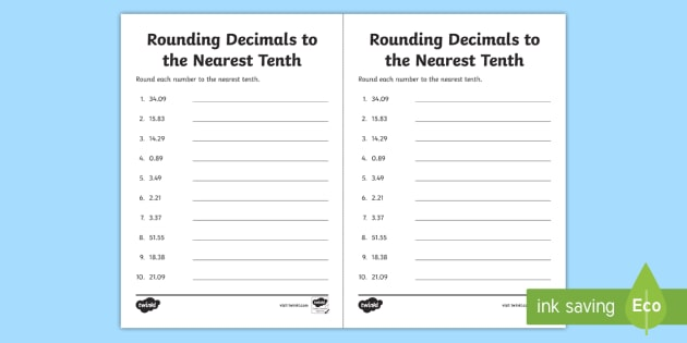 Rounding Decimals To The Nearest Tenth Worksheet Activity