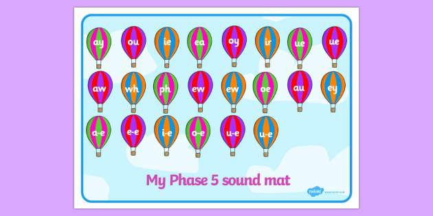 Phase 5 Sound Mat on Hot Air Balloons - Sound Mat, Letters and Sounds, Phase 5, Phase five, Foundation, Literacy, Mnemonic Images