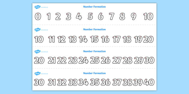 Number Formation Strips 0-40 - number formation, number, formation, strips, 0-40, overwriting
