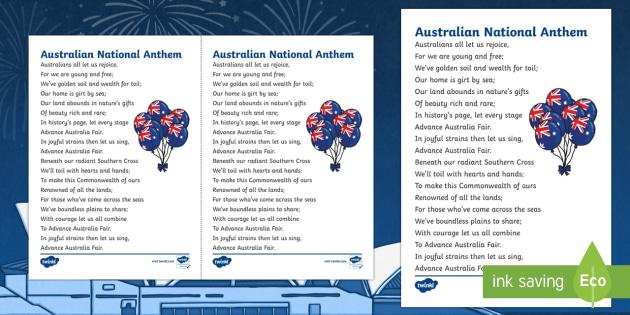 image regarding National Anthem Lyrics Printable called Progress Australia Sensible Countrywide Anthem Print-Out - Australian