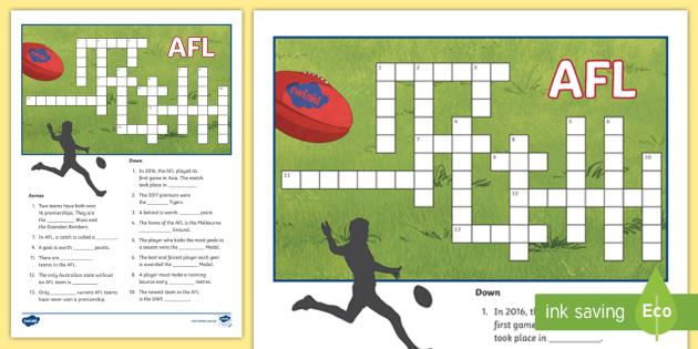 AFL Crossword - 5-6, 3-4, AFL Teams, Footy Teams, Football