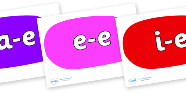Modifying E Letters on Speech Bubbles (Multicolour) - Modifying E, letters, modify, Phase 5, Phase five, alternative spellings for phonemes, DfES letters and Sounds