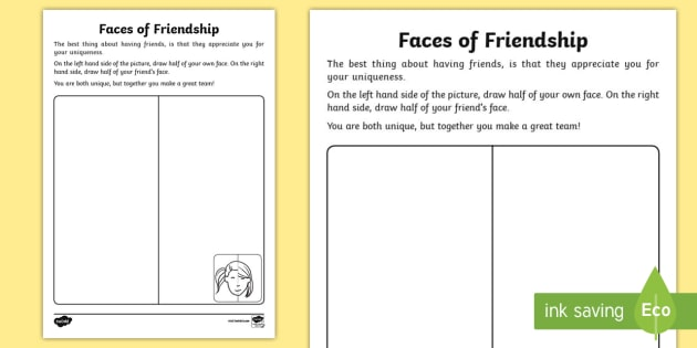 Faces Of Friendship Worksheet Activity Sheet Unique Same