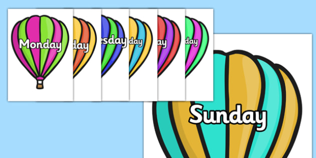 Days of the Week on Hot Air Balloons (stripes) - Balloons, hot air balloon, Weeks poster, Months display, display, poster, frieze, Days of the week