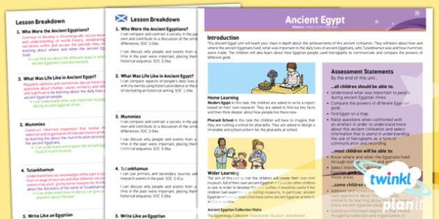 History: Ancient Egypt UKS2 Planning Overview CfE