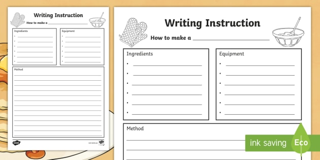 Writing Instructions Recipe , writing, instructions, recipe