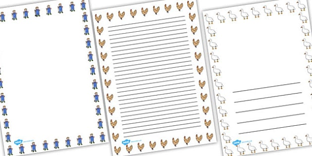 Farmer and  Duck Page Borders - farmer duck, page borders, writing frames, lined pages, writing aid, themed page borders, farmer duck writing frames, lined