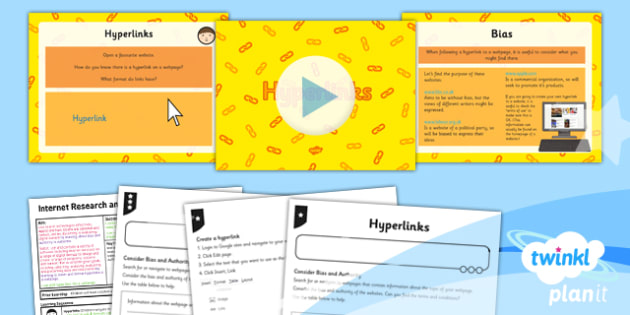 Computing: Internet Research and Webpage Design: Hyperlinks Year 5 Lesson Pack 5