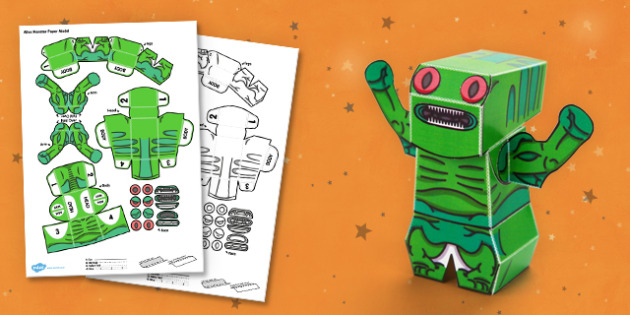 Alien Monster 3D Halloween Paper Model - paper,folding,fold,up,toy,toys,activity,class,colour,color,in,build,display.print,out,cut,printable,fun,model,stand,cube,role,play,playing,prop,props,drama,display,halloween,monster