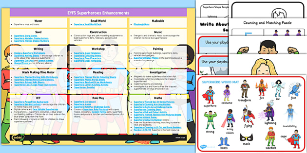 Classroom Enhancement Ideas ~ Eyfs superheroes enhancement ideas and resources pack