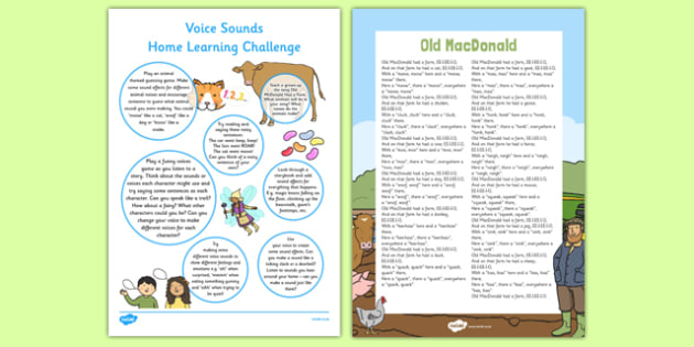 Voice Sounds EYFS Home Learning Challenge Sheet Reception FS2 - EYFS planning, Early years activities, homework activities, phonics, Letters and Sounds, Phase 1, Aspect 6.