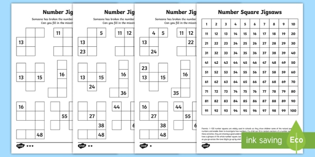 Number Square Jigsaws Worksheet Activity Sheets Year 2