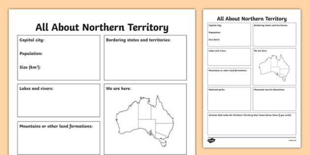 All About the Northern Territory Research Worksheet / Activity Sheet - australia, Geography, research, questions, questioning, answers, Northern Territory, Darwin, facts, states, territories, Australia, worksheet