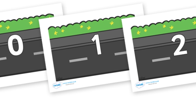 Numbers 0-31 on Roads (Plain) - 0-31, foundation stage numeracy, Number recognition, Number flashcards, counting, number frieze, Display numbers, number posters