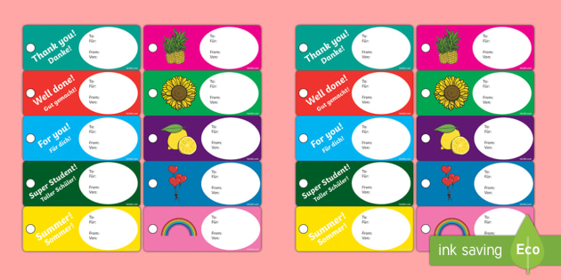 End Of Year Editable Gift Tags Labels - English/German - End of