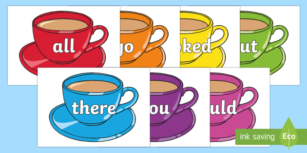 Tricky Words on Cups - Tricky words, DfES Letters and Sounds, Letters and sounds, display, words