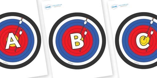 A-Z Alphabet on Archery Targets - A-Z, A4, display, Alphabet frieze, Display letters, Letter posters, A-Z letters, Alphabet flashcards