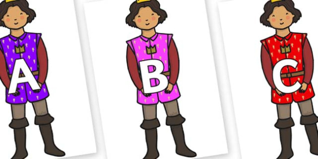 A-Z Alphabet on Princes - A-Z, A4, display, Alphabet frieze, Display letters, Letter posters, A-Z letters, Alphabet flashcards