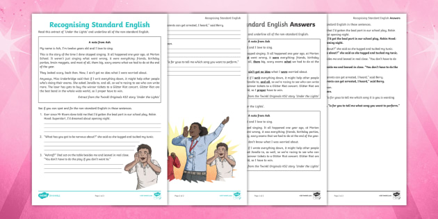 KS2 Recognising Standard English Worksheet - worksheet, year ...
