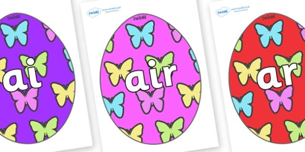 Phase 3 Phonemes on Easter Eggs (Butterflies) - Phonemes, phoneme, Phase 3, Phase three, Foundation, Literacy, Letters and Sounds, DfES, display