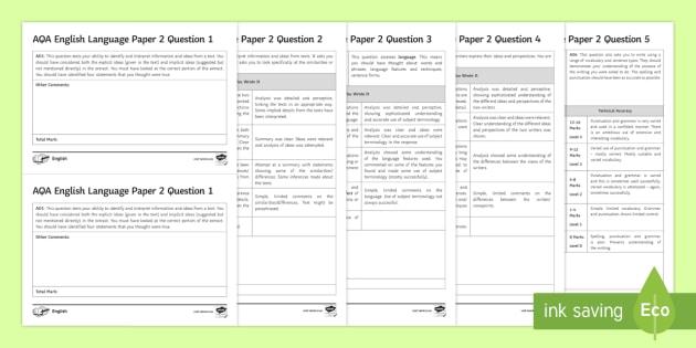 GCSE AQA English Language Paper 2 Marking Worksheets - GCSE ...