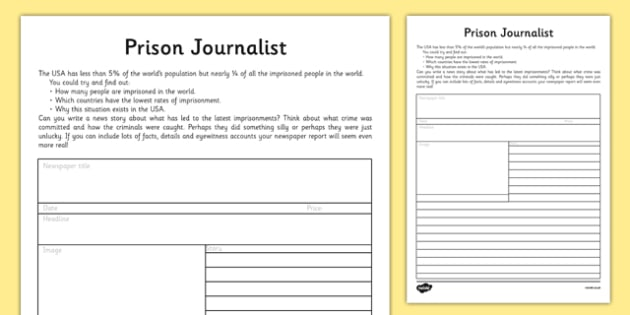 Prison Journalist Worksheet / Activity Sheet - prison journalist, prison, journalist, activity, sheet, worksheet