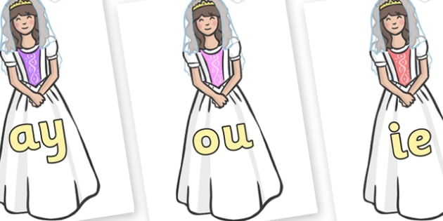 Phase 5 Phonemes on Princesses - Phonemes, phoneme, Phase 5, Phase five, Foundation, Literacy, Letters and Sounds, DfES, display