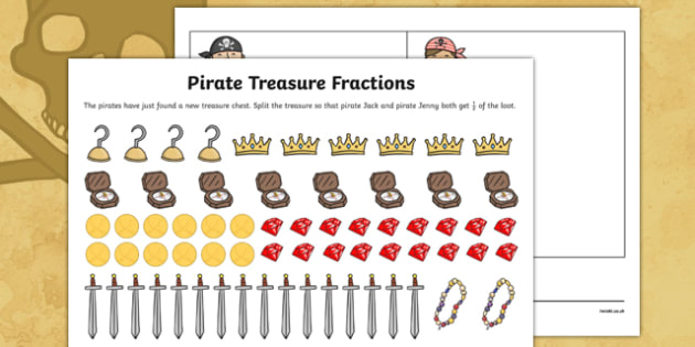 Pirate Treasure Fractions Find a Half Activity Sheet - pirate, treasure, fractions, half, activity, worksheet