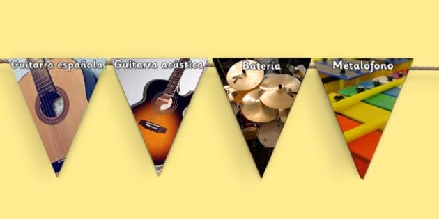 Music Photo Display Bunting - spanish, Banderines de los instrumentos musicales, m