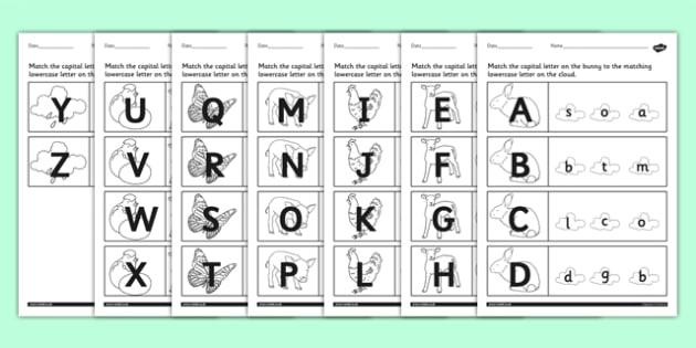Spring Themed Capital Letter Matching Worksheet - spring, sheet