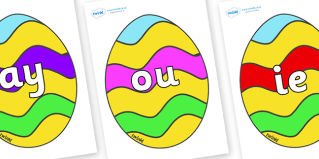 Phase 5 Phonemes on Easter Eggs (Striped) - Phonemes, phoneme, Phase 5, Phase five, Foundation, Literacy, Letters and Sounds, DfES, display