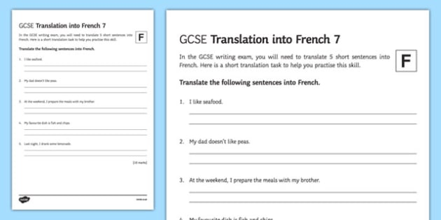 GCSE French: Translation into French - Foundation Tier Activity Sheet 7-French, worksheet