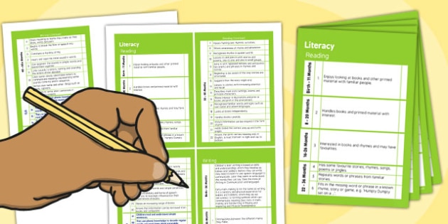 Pocket Sized EYFS Early Years Outcomes Tracking Document Literacy
