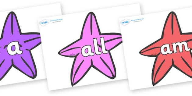 Foundation Stage 2 Keywords on Starfish to Support Teaching on The Rainbow Fish - FS2, CLL, keywords, Communication language and literacy,  Display, Key words, high frequency words, foundation stage literacy, DfES Letters and Sounds, Letters and Soun