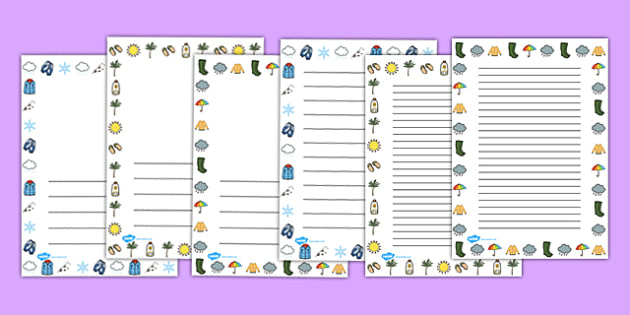 Winter Page Borders Portrait Temperate - writing aid, template