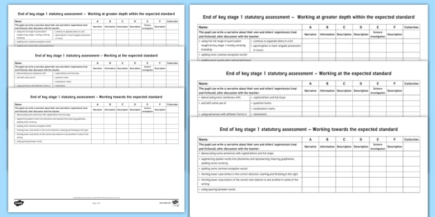 End of KS1 Expectations Tracking Sheet Writing Checklist - End of KS1, Expectations, Interim, Assessment, Tracking, Writing,Child Friendly, end of ks1, expecta