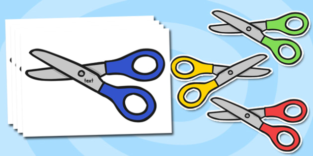 Blank Editable Scissors Display Cut Outs - scissors, equipment, display, technology, design, labels