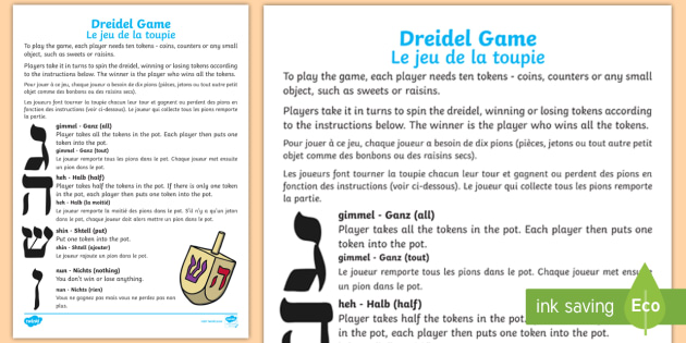 photograph about How to Play the Dreidel Game Printable named Hanukkah Dreidel Sport English/French - hanukkah, bash