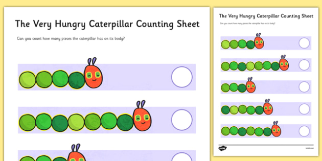 Counting Sheet to Support Teaching on The Very Hungry Caterpillar - counting, numbers, 1-1, one to one,  the Very Hungry Caterpillar, Eric Carle, numbers, counting, numeracy booklet, resources, Hungry Caterpillar, life cycle of a butterfly, days of t