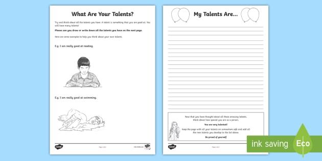 What Are Your Talents? KS2 Worksheet / Worksheets - self-esteem