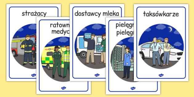 Plakaty Ludzie, którzy pracują nocą po polsku - zawody