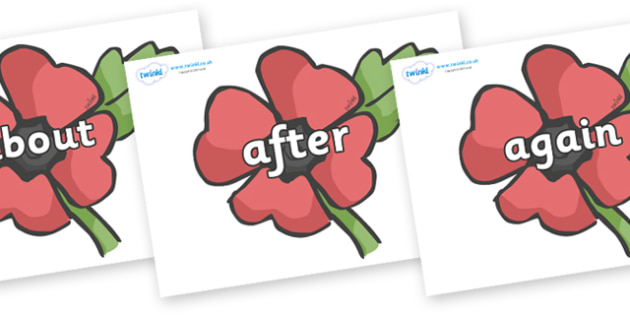 KS1 Keywords on Poppies - KS1, CLL, Communication language and literacy, Display, Key words, high frequency words, foundation stage literacy, DfES Letters and Sounds, Letters and Sounds, spelling